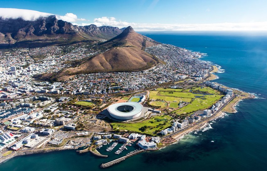 Aerial view of Cape Town, South Africa and Table Mountain