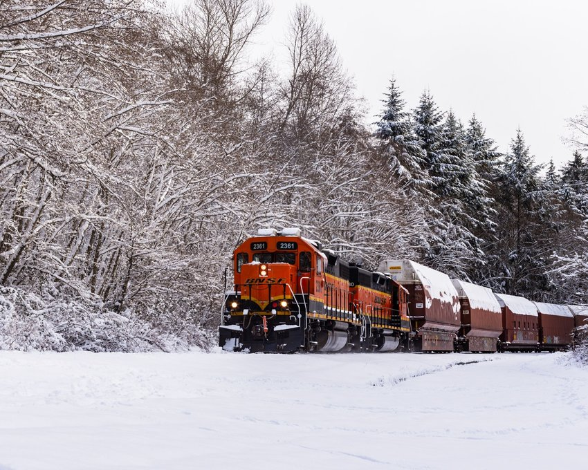 Brown train going past trees covered in snow in winter
