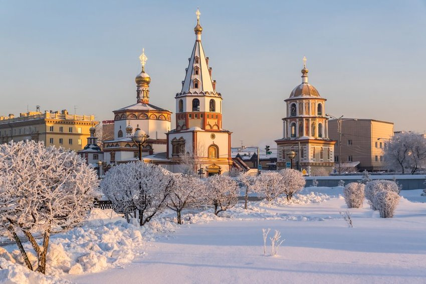 Winter view of the Cathedral of the Epiphany in Irkutsk, Russia.
