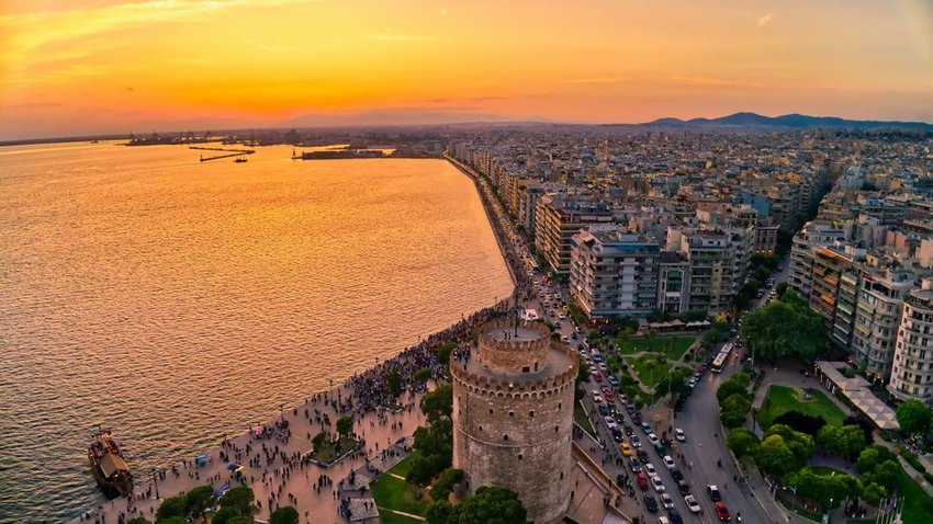 Aerial view of famous White Tower of Thessaloniki at sunset, Greece