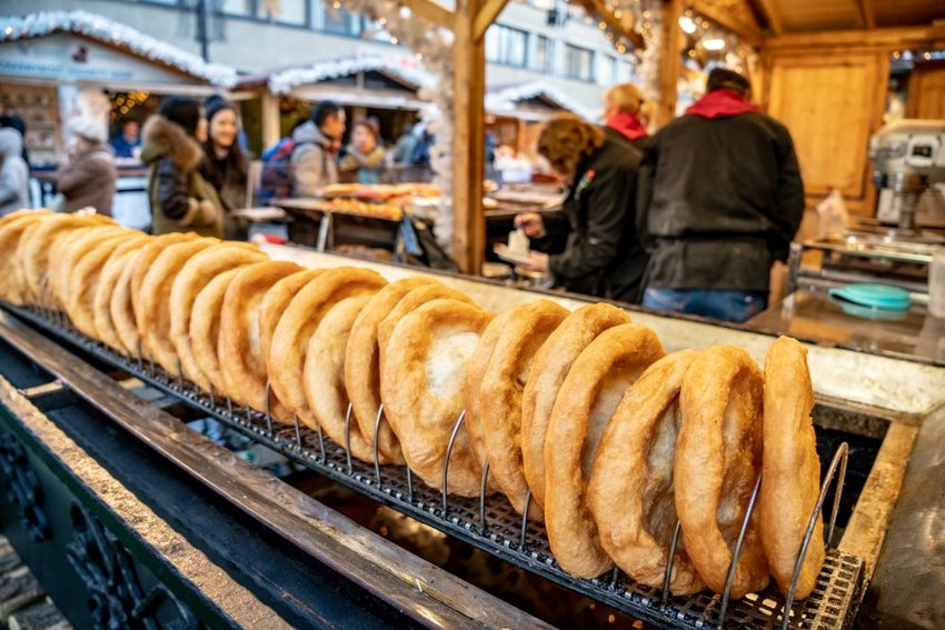 Line of langos at Christmas market in Budapest
