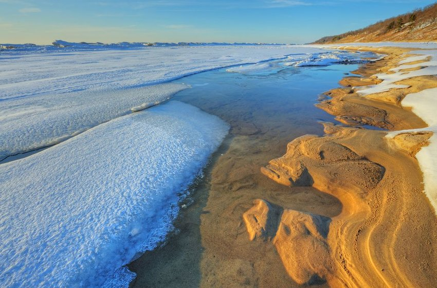 Iced shoreline of Lake Michigan in Saugatuck Dunes State Park