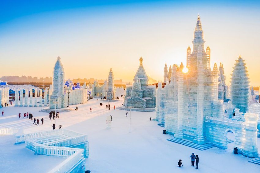 Ice sculptures in the Ice and Snow World in Harbin, China.
