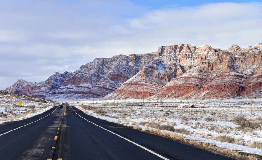 Highway 89 in the Painted Desert during winter