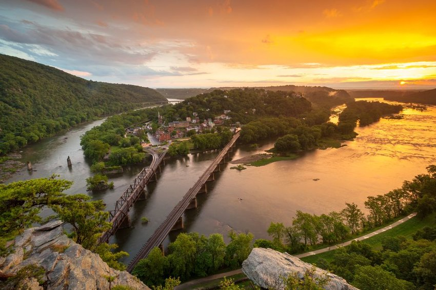 Harpers Ferry National Historic Park at sunset