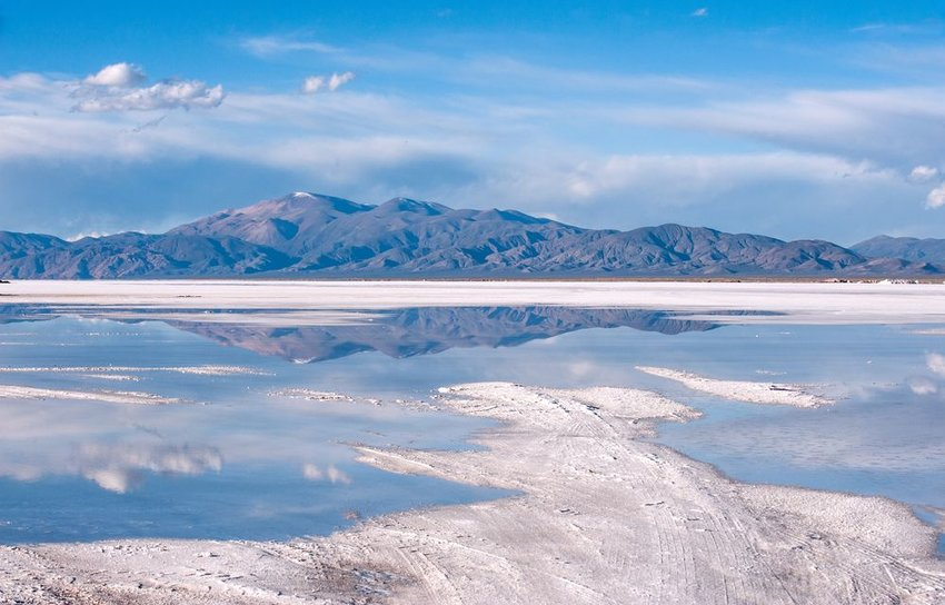 Salinas Grandes on Argentina Andes salt desert in the Jujuy Province