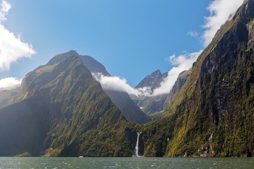 Waterfall in Milford Sounds, New Zealand