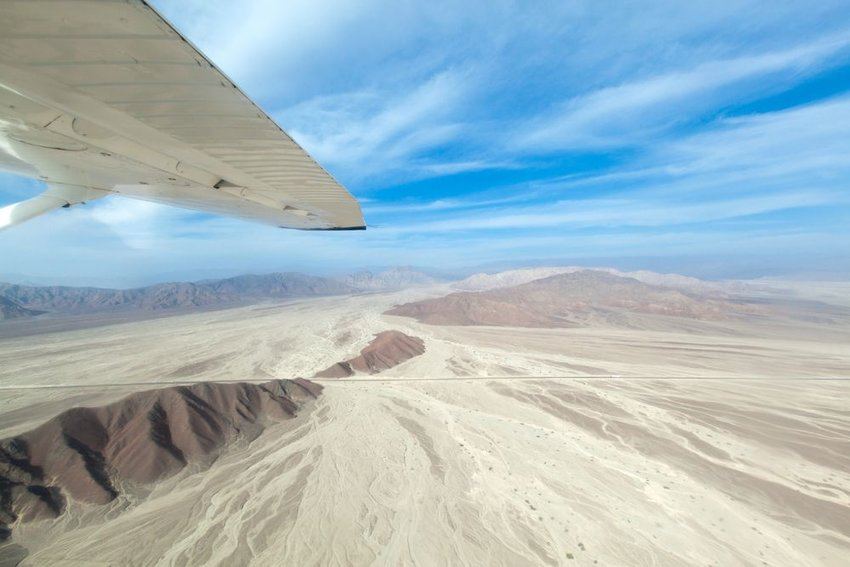The Nazca Lines viewed from an airplane