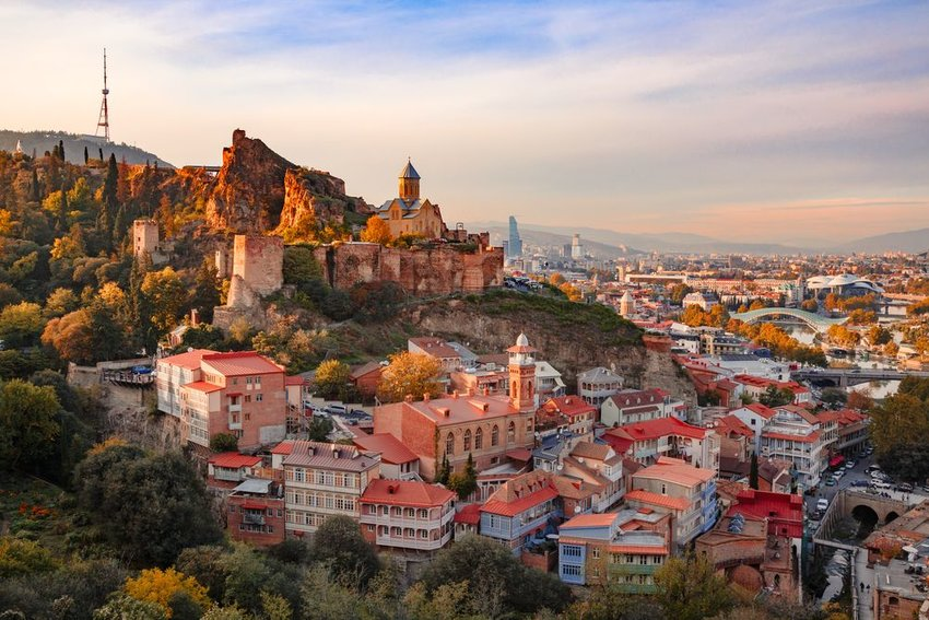 Sunset view of Tbilisi