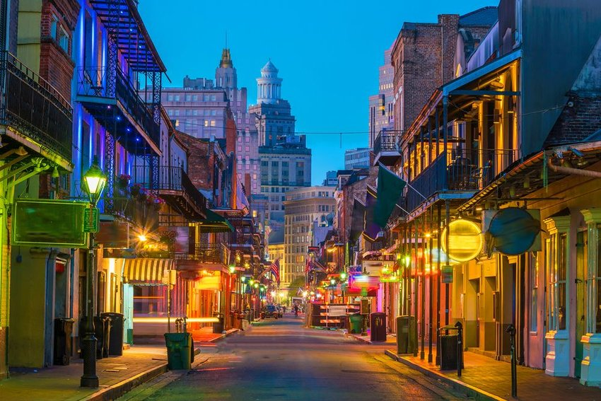 Pubs and bars with neon lights in the French Quarter
