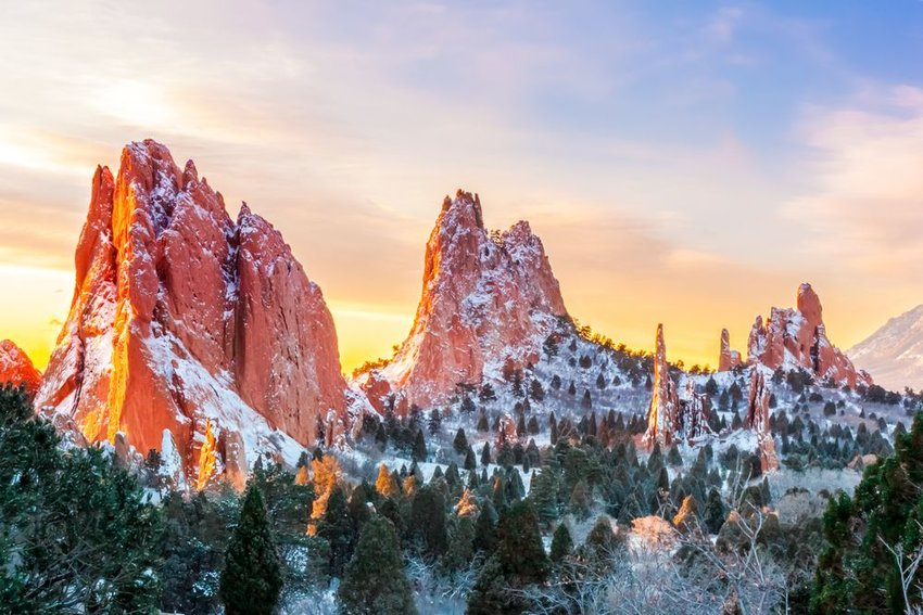 Garden of the Gods, Colorado Springs covered in snow at sunrise