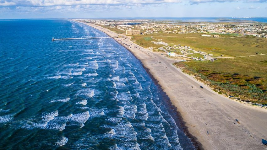 Padre island shoreline drone view in Port Aransas, Texas