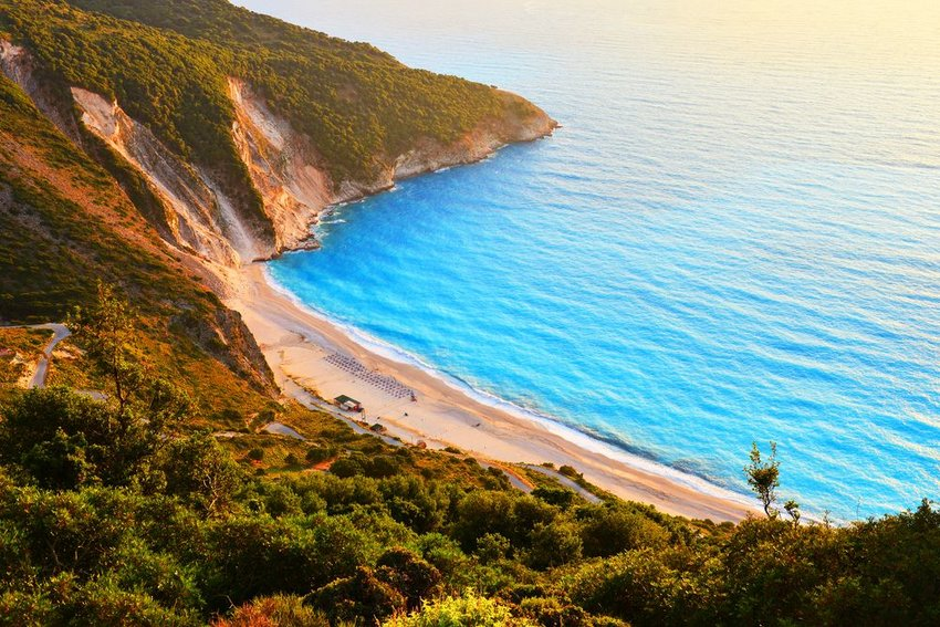 Sunset at famous Myrtos beach in Kefalonia