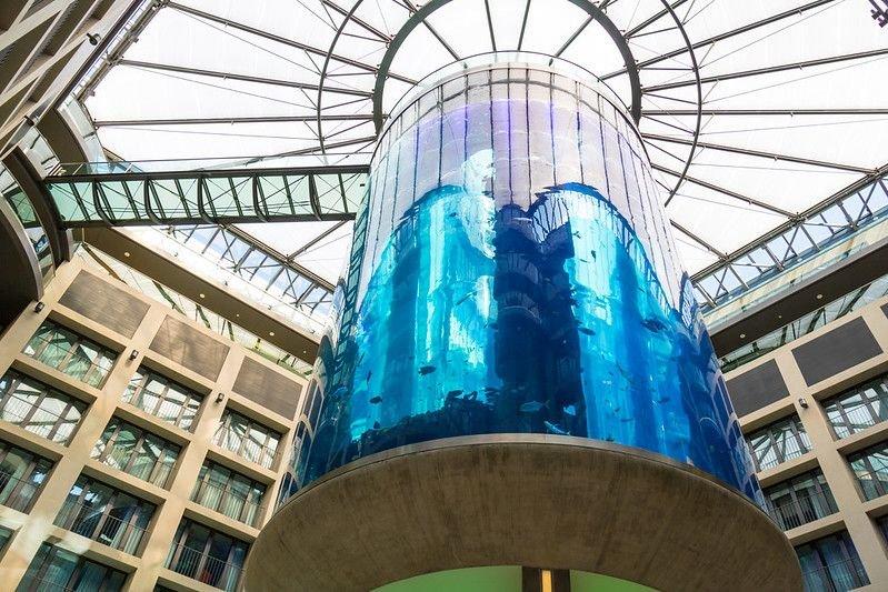 AquaDom in Berlin, seen from below
