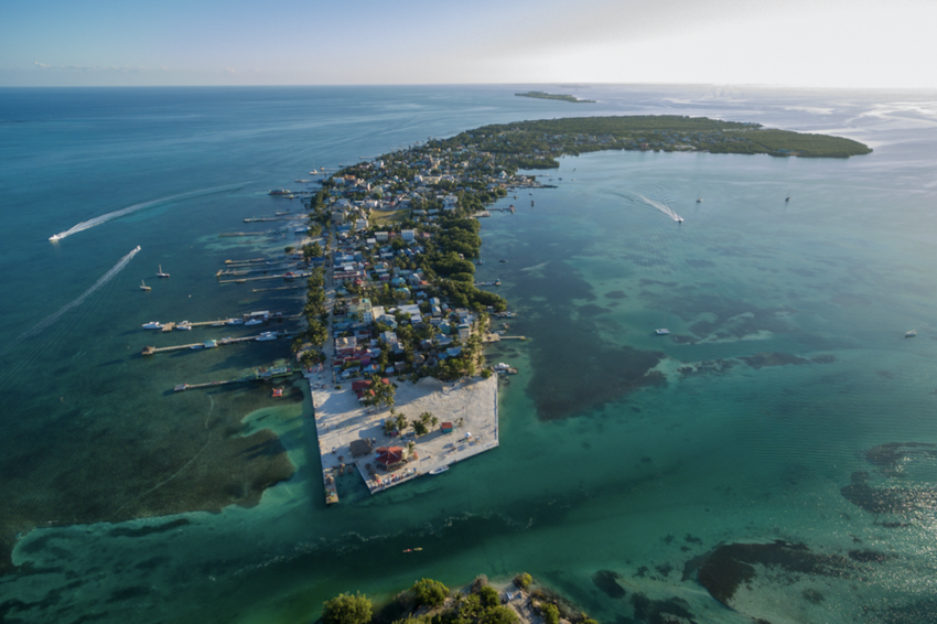 Aerial view of Caye Caulker Island in Caribbean Sea