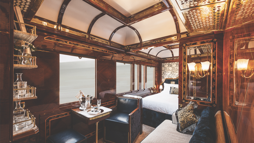 Interior view of sleeping cabin on the Venice Simplon-Orient Express