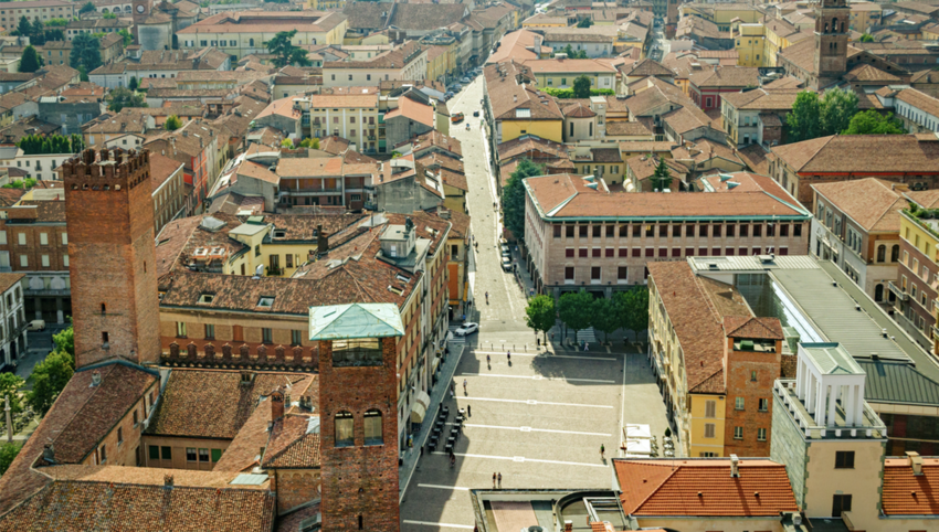 Aerial view of Cremona, Italy