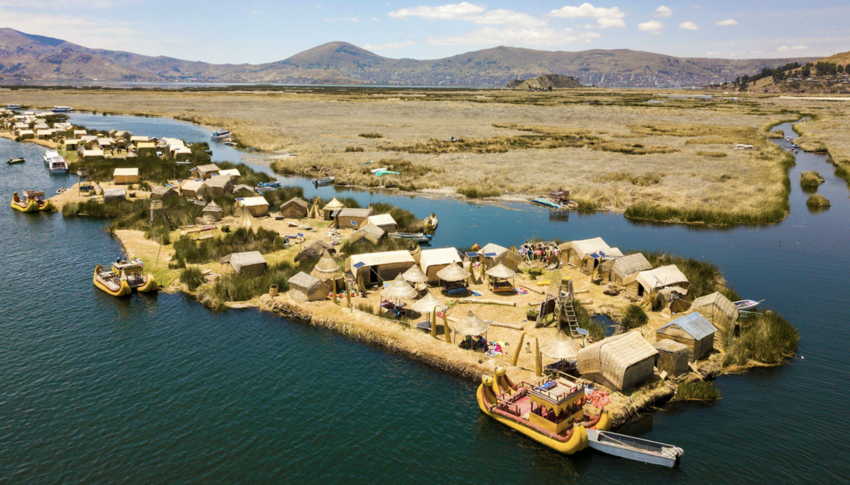 Aerial view of floating islands of Uros at Lake Titicaca