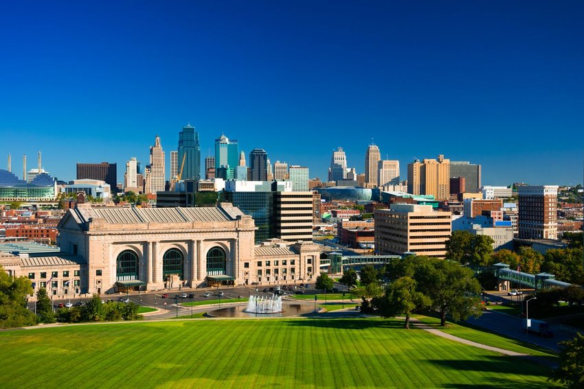 Downtown Kansas City skyline view with Union Station and Penn Valley Park in the foreground