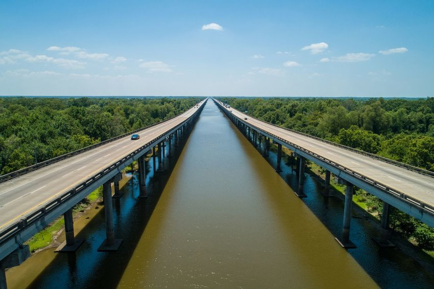 Aerial drone photo of the I10 over the Atchafalaya Basin Bridge