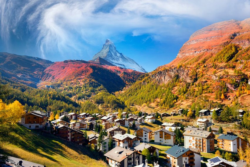 Town of Zermatt with Matterhorn in background
