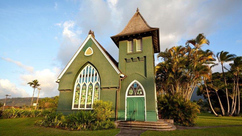 The Waioli Huiia Church in Halalei, Kauai, Hawaii