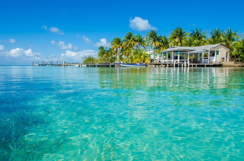 Clear blue water with homes on shore with palm trees in Belize Cayes