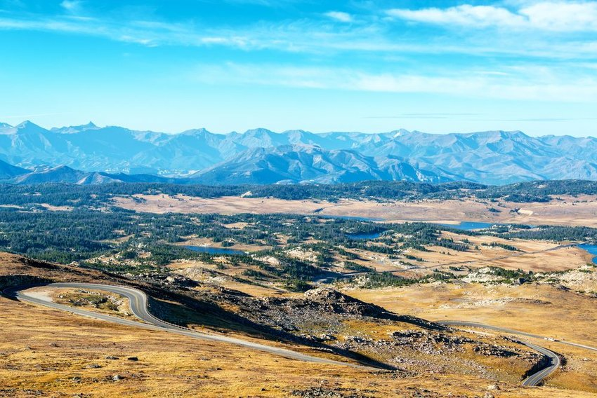 Beartooth Highway between Montana and Wyoming with mountain range in background