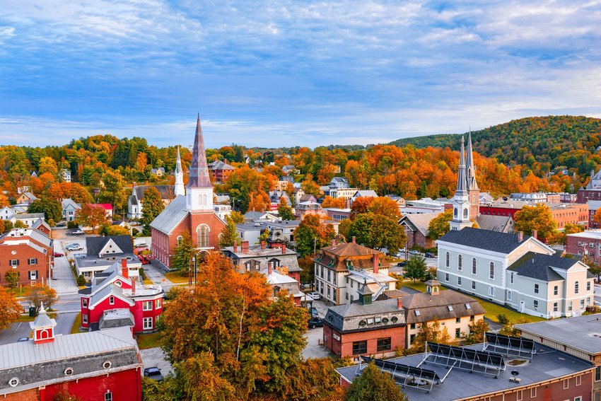 Montpelier, Vermont skyline surrounded by fall trees