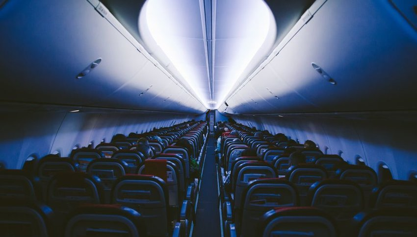 Interior view of a plane at nighttime