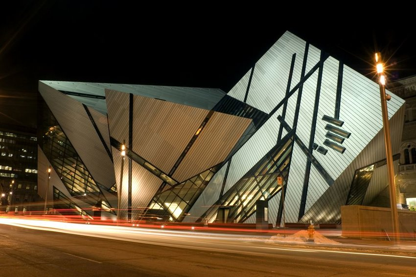 A night shot of the north face of the Royal Ontario Museum in Toronto