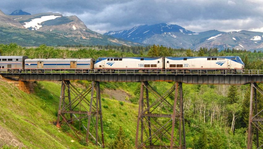 Empire Builder train going over a bridge