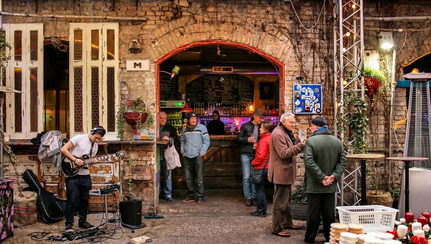 Exterior of Szimpla Kert in Budapest