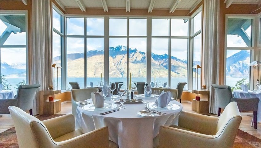 Dining room with view of mountains