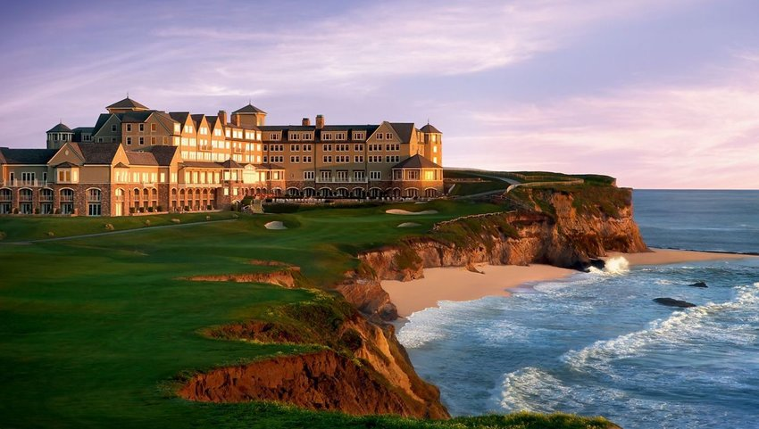 Ritz Carlton building on cliff with ocean views