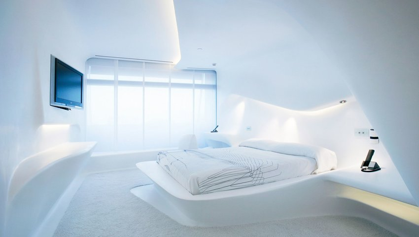 Interior of white, futuristic bedroom
