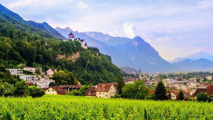 View of Vaduz between mountain ranges