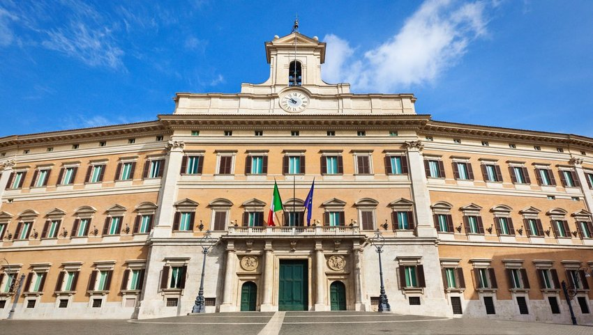 Exterior front view of the Palazzo di Montecitorio