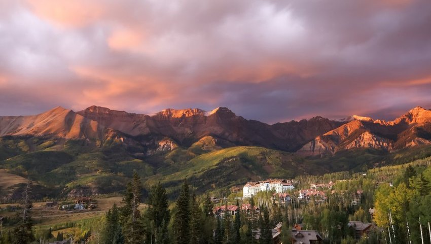 Sunset over mountains in Telluride, Colorado