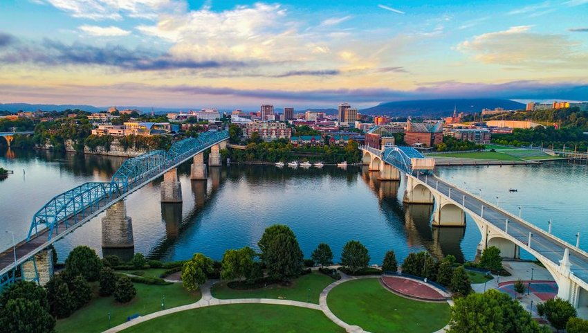 Aerial view of two bridges leading to Chattanooga skyline