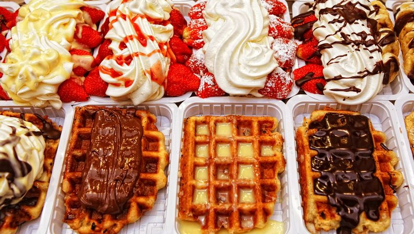 Rows of waffles with varying toppings
