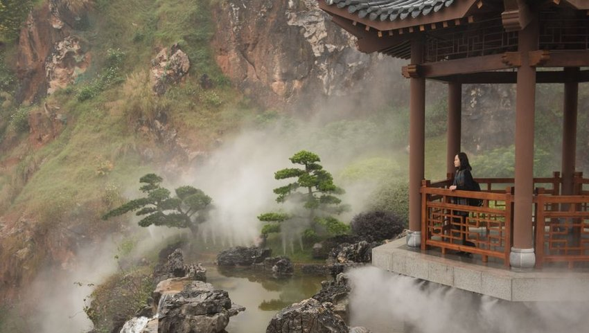 Woman standing in pavilion overlooking park with mist