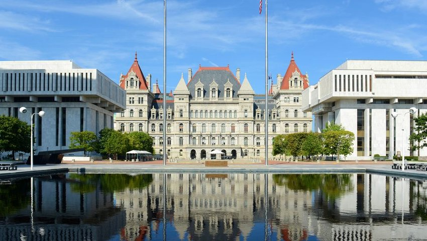 Exterior of New York State Capital Building with water in front