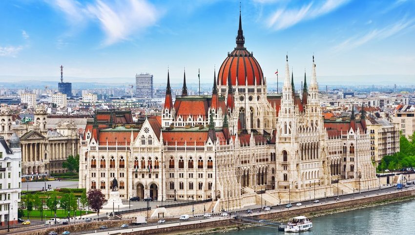 Aerial view of Hungarian Parliament Building with cityscape in the background