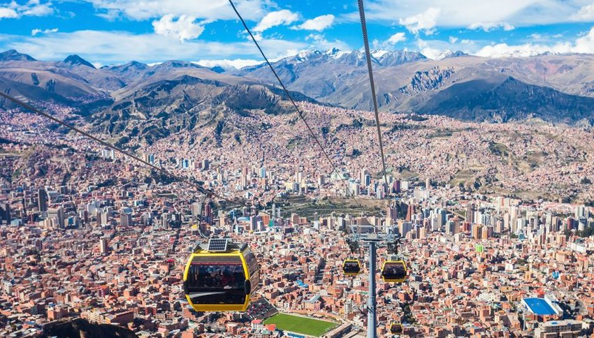 Cable cars over the city of La Paz, Bolivia