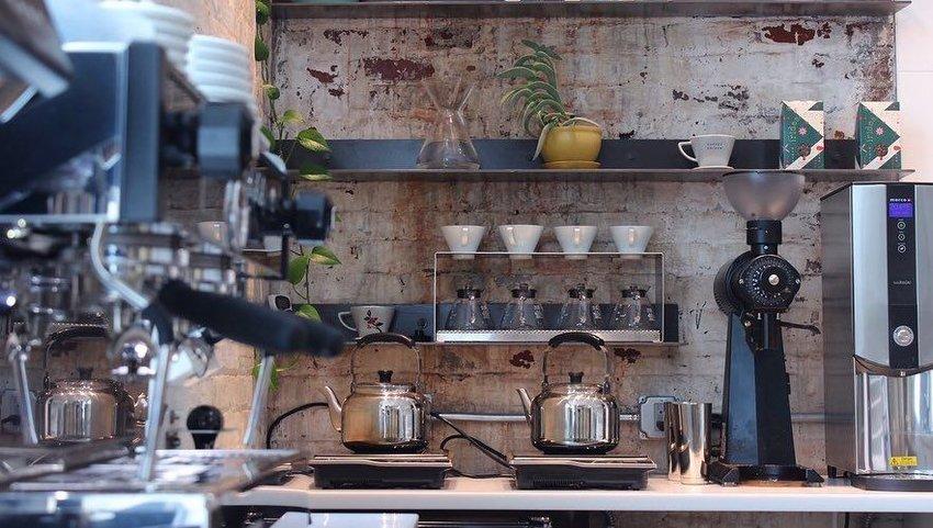 Coffee on counter with coffee mugs