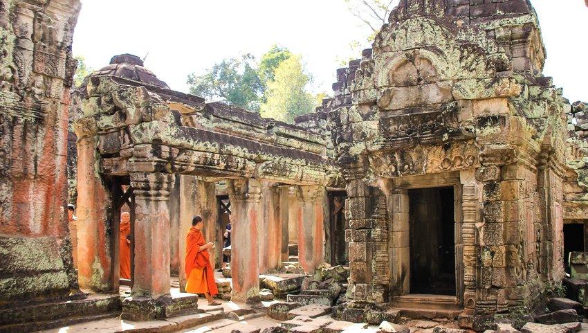 People walking through Angkor Wat