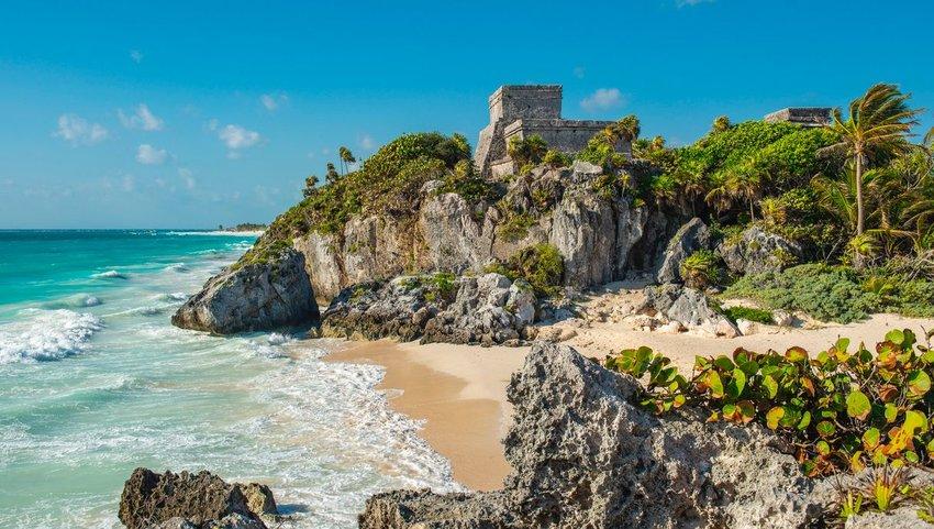 Mayan ruins above the beach