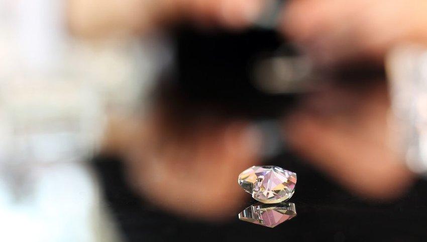Swarovski crystal on reflective table
