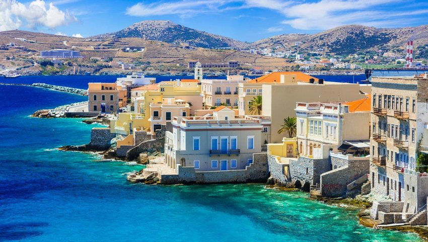 Buildings on the water in Syros, Greece